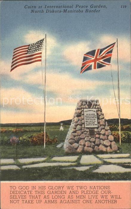 North Dakota US State Cairn at International Peace Garden Flag