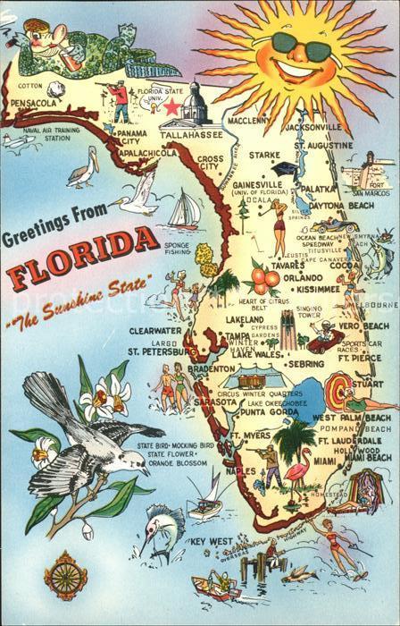 Florida US State Sushine State Landkarte