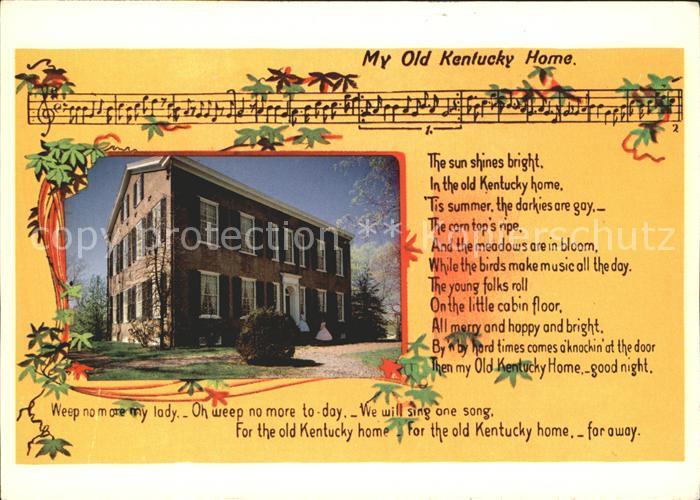Kentucky US State Liederkarte My Old Kentucky Home