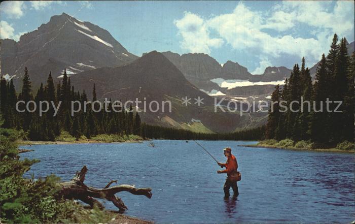 Montana US-State Fisherman at Lake Sherburne /  /