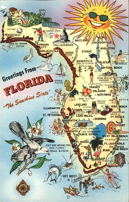 Florida US State Landkarte Sunshine State