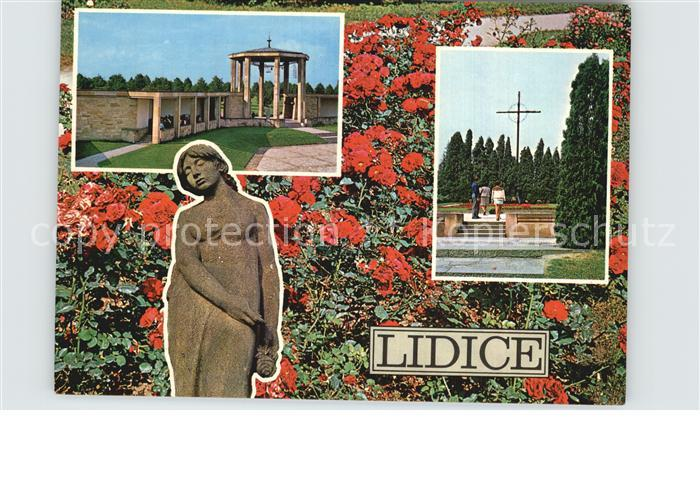 Lidice Park Mahnmal Massengrab Rosenbeet Skulptur