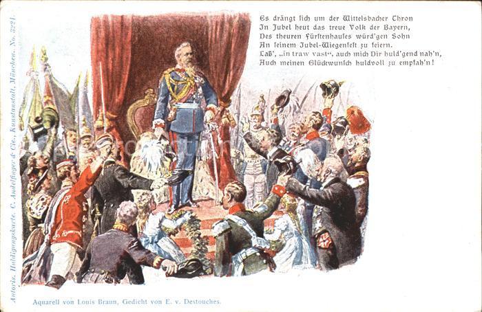 Adel Bayern Prinzregent Luitpold von Bayern Gedicht Litho Kat. Koenigshaeuser