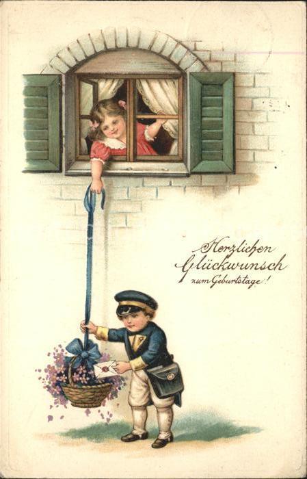 Postbote Brief Kinder Glueckwunsch Geburtstag Blumen Fenster Kat. Post