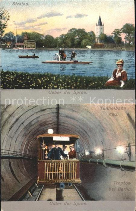 U Bahn Subway Underground Tunnelbahn nach Treptow Stralau Spree  Kat. Bahnen