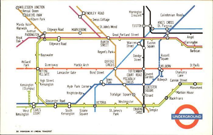 U Bahn Subway Underground Fahrplan London Kat Bahnen Nr Kg72837
