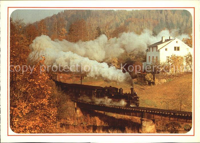 Lokomotive Schmalspurbahn Wolkenstein Joehstadt Pressnitztal Kat. Eisenbahn