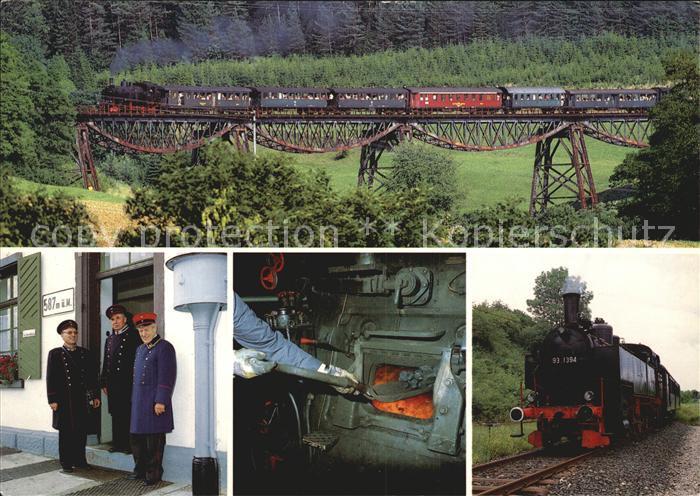 Lokomotive Museumsbahn Wutachtal Biesenbachviadukt Schaffner  Kat. Eisenbahn