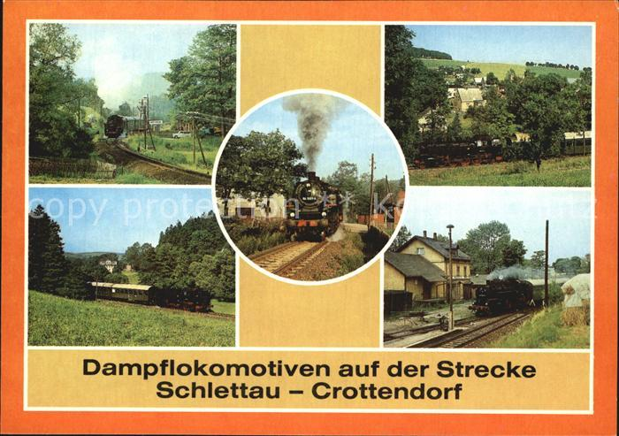 Lokomotive Dampflokomotive Strecke Schlettau Crottendorf  Kat. Eisenbahn