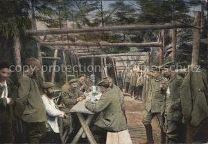 Militaria Kartenspiel im Unterstande Soldatenleben WK1