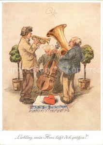 Kuenstlerkarte H. Geilfus Musikanten Cello Trompete Tuba Herz Kat. Kuenstlerkarte