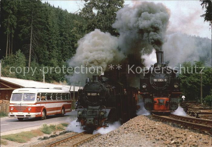 Lokomotive Schmalspur Lokomotiven 99 5904 0 und 99 6001 4 Alexisbad  Kat. Eisenbahn