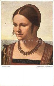 Duerer Albrecht Nuernberg Bildnis einer jungen Frau  Kat. Kuenstlerkarte