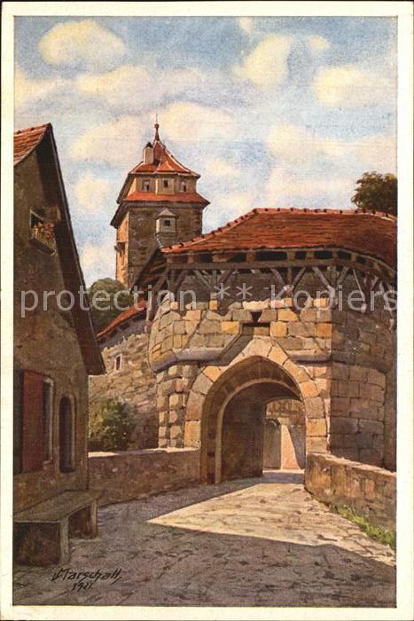 Marschall Vinzenz Rothenburg Tauber Spitalbastei Kat. Kuenstlerkarte