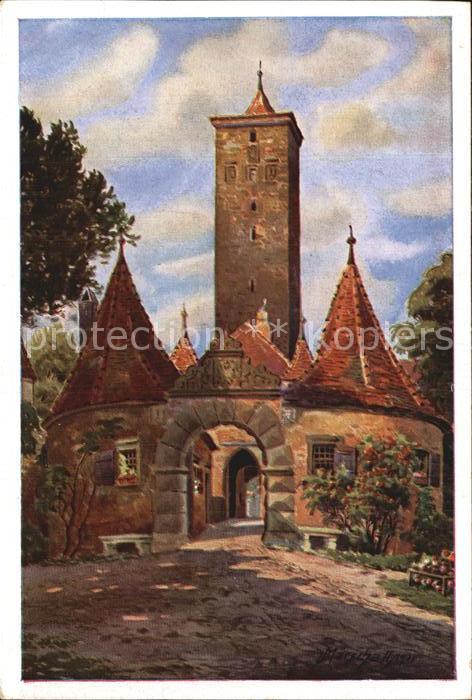 Marschall Vinzenz Rothenburg Tauber Burgtor Kat. Kuenstlerkarte