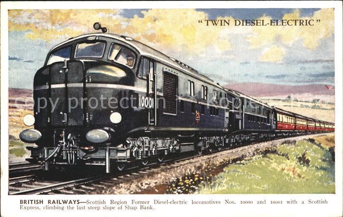 Lokomotive Twin Diesel Electric British Railways Scottish Express Shape Bank Kat. Eisenbahn