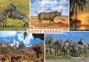 Tiere Safari Zebras Nashorn  Kat. Tiere