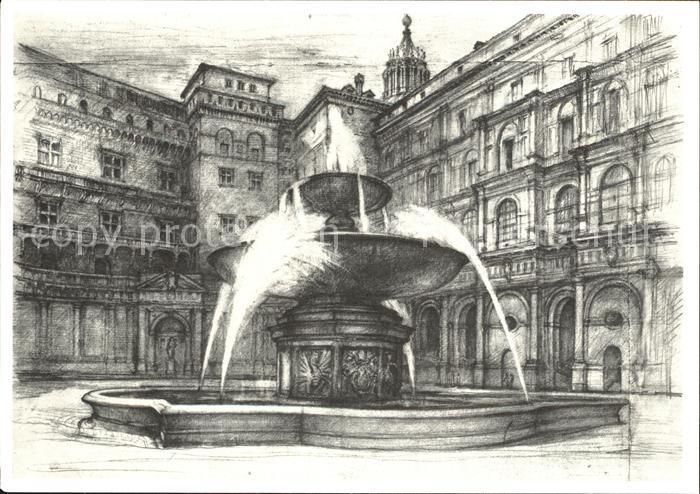 Kuenstlerkarte Lino Bianchi Barriviera Citta del Vaticano Fontana e cortile del Belvedere  Kat. Kuenstlerkarte