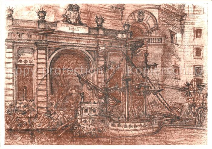Kuenstlerkarte Lino Bianchi Barriviera Citta del Vaticano Fontana della Galea Kat. Kuenstlerkarte