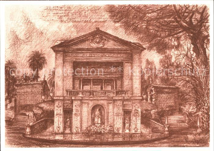 Kuenstlerkarte Lino Bianchi Barriviera Citta del Vaticano Fontana della Casinadi Pio IV.  Kat. Kuenstlerkarte