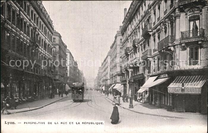 Strassenbahn Lyon Perspective de la Rue de la Republique  Kat. Strassenbahn
