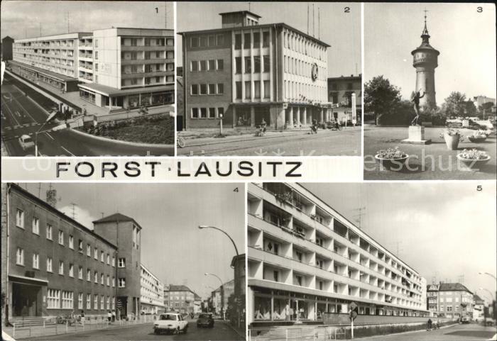 Forst Lausitz Berliner Strasse Konsum Gasthaus Wasserturm Post  und Berliner Srasse  Kat. Forst Lausitz