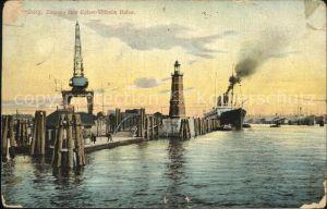 Hamburg Kaiser Wilhelm Hafen Leuchtturm Kran uebersseeschiff Kat. Hamburg