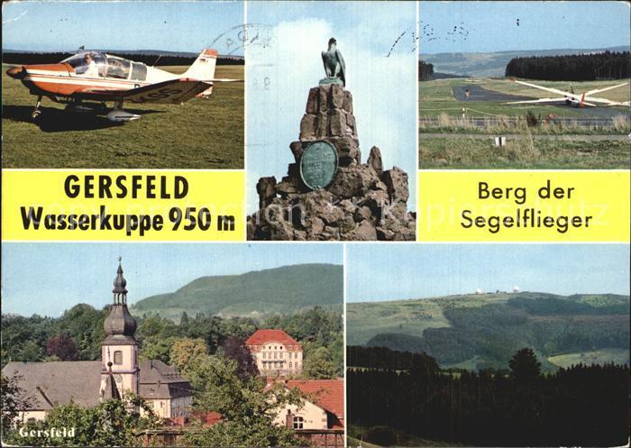 Gersfeld Rhoen Wasserkuppe Berg der Segelflieger Fliegerdenkmal Kirche Kat. Gersfeld (Rhoen)