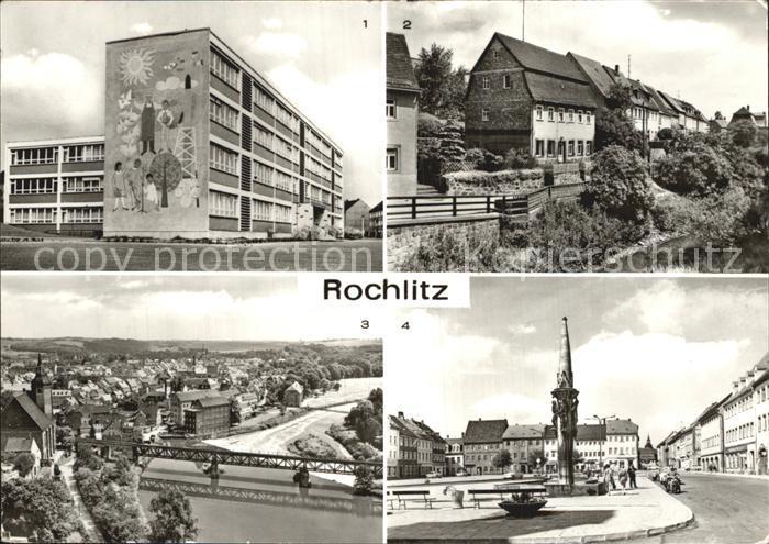 Rochlitz Sachsen Hermann Matern Ober Schule Muehlgraben Platz der Befreiung Wrba Brunnen Kat. Rochlitz