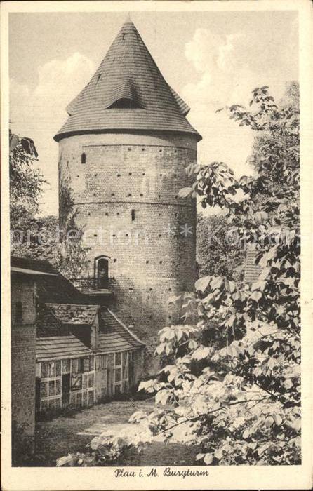 Plau Mecklenburg Burgturm Kat. Plau See