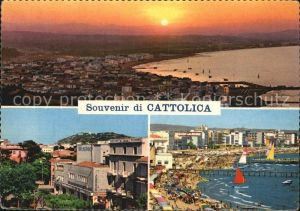 Cattolica Panorama Sonnenuntergang Strand Kat. Cattolica