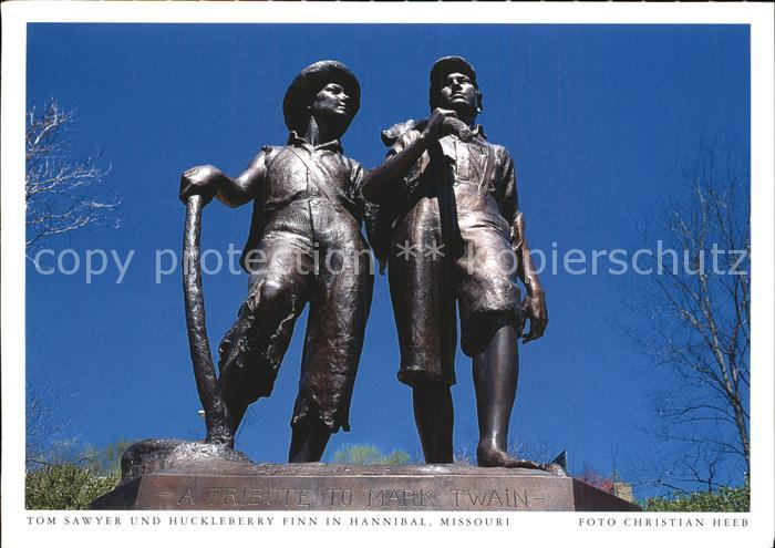 Hannibal Missouri Statue Tom Sawyer und Huckleberry Finn Kat. Hannibal