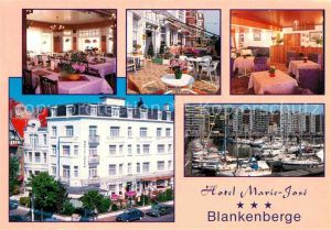 Blankenberge Hotel Marie Jose Gastraeume Terrasse Hafenpartie Kat.
