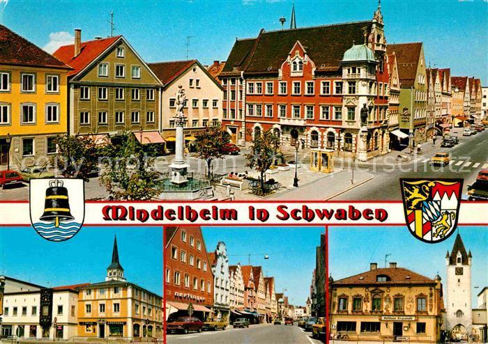 Mindelheim Marktplatz Rathaus Strassenpartie Kirche Kat. Mindelheim