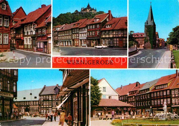 Wernigerode Harz Kleinste Haus der Stadt Feudalmuseum Schloss Westerntorturm Hotel Gothisches Haus Nikolaiplatz Kat. Wernigerode