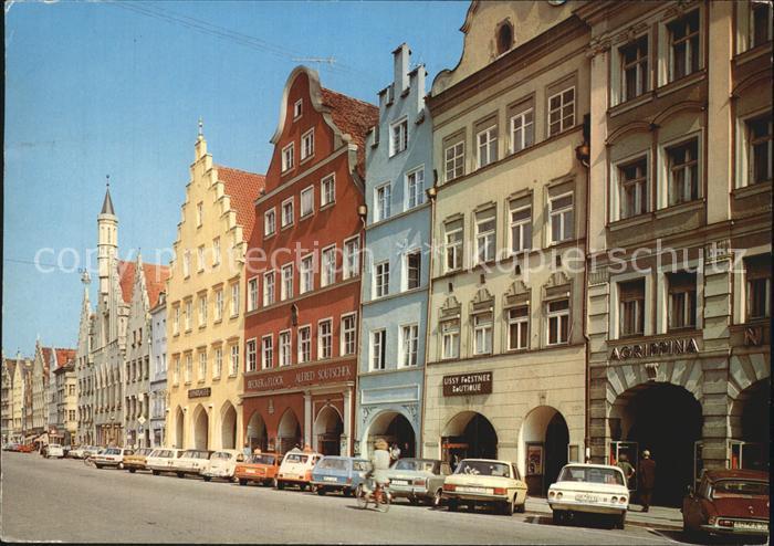 Landshut Isar Altstadt mit Rathaus Kat. Landshut
