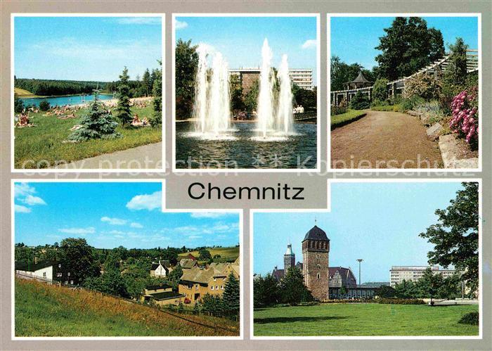 Chemnitz Oberrabenstein Wasserspiele Karl Marx Platz Pelzmuehle Pavillon Adelsberg Roter Turm Kat. Chemnitz