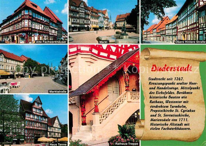 Duderstadt Fachwerkhaeuser Markt Strassenpartie Markt Haus Tanne Rathaus Treppe Kat. Duderstadt