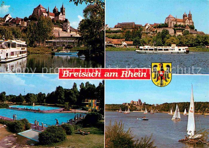 Breisach Rhein Schloss Schwimmbad Segelboote Kat. Breisach am Rhein