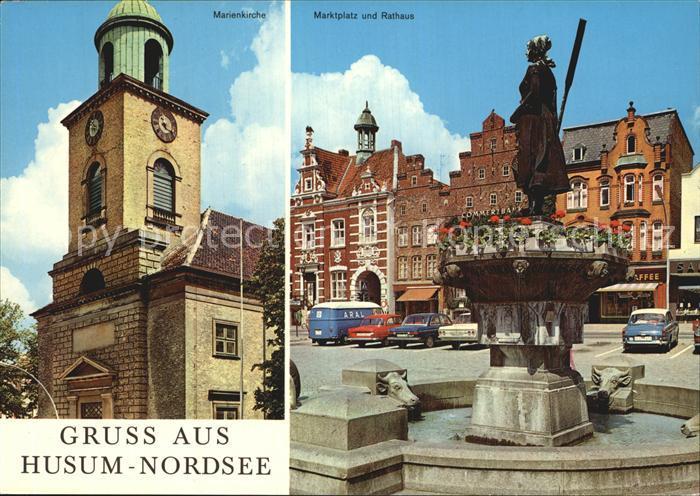 Husum Nordfriesland Marienkirche Marktplatz Rathaus Brunnen Statue Kat. Husum