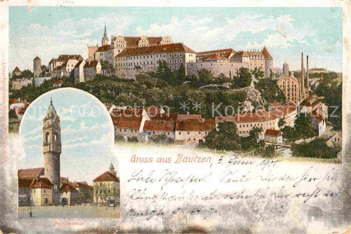 Bautzen Reichentor Schloss Panorama Kat. Bautzen