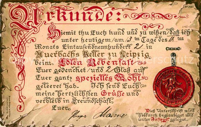 Leipzig Urkunde Auerbachs Keller Kat. Leipzig