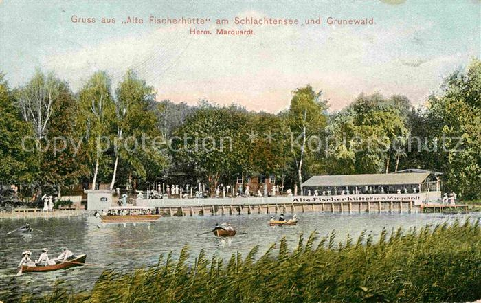 Berlin Alte Fischerhuette Schlachtensee Grunewald Ruderboote Kat. Berlin