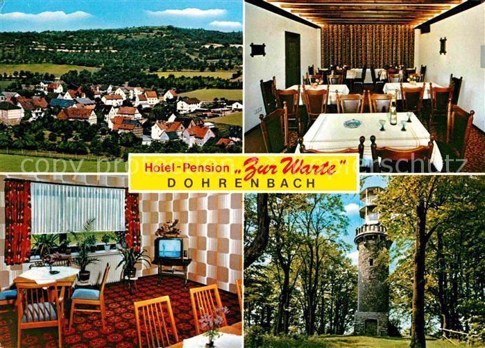 Dohrenbach Hotel Pension Zur Warte Gastraum Turm Meissnerwald Kat. Witzenhausen