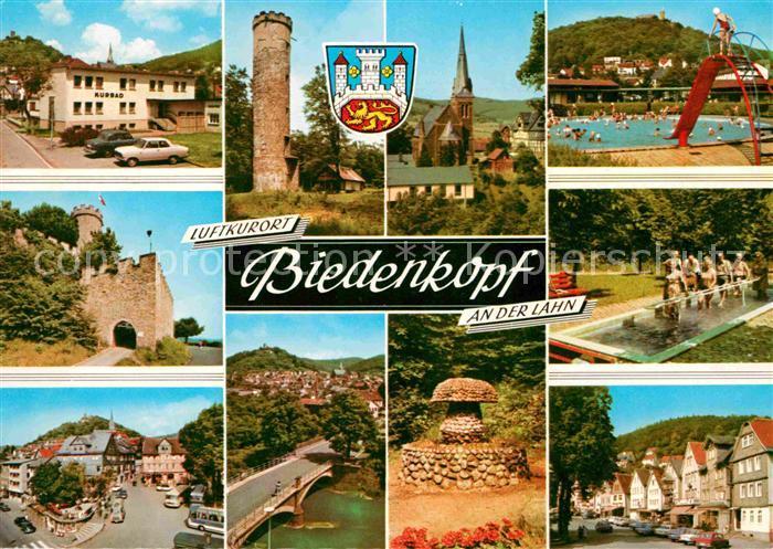 Biedenkopf Luftkurort Schwimmbad Turm Kirche Lahn Wassertretanlage Kat. Biedenkopf