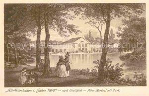 Wiesbaden Alt Wiesbaden 1840 Alter Kursaal Park nach Stahlstich Kat. Wiesbaden