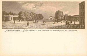 Wiesbaden Alt Wiesbaden 1840 Alter Kursaal Colonnaden nach Stahlstich Kat. Wiesbaden