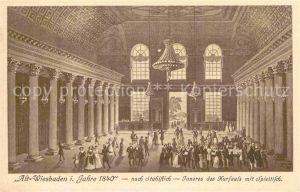 Wiesbaden Alt Wiesbaden 1840 Kursaal Spieltisch nach Stahlstich Kat. Wiesbaden