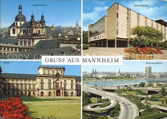 Mannheim Jesuitenkirche Nationaltheater Brueckenauffahrt Schloss Kat. Mannheim