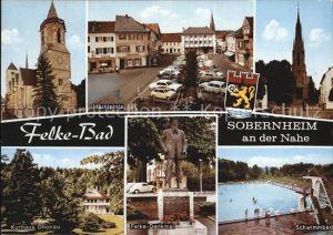 Sobernheim Bad an der Nahe Marktplatz Kurhaus Felke Denkmal Kat. Bad Sobernheim